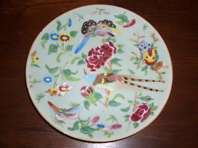 A Chinese Porcelain Famille Rose/celadon Ground 19Cm Plate, 19Th C.