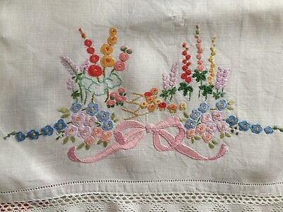 Job Lot 7 Vintage Hand Embroidered Tray Cloths