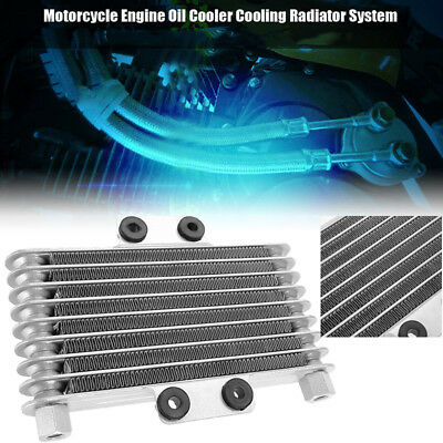 Engine Cooler Motorcycle Oil Dirt Bike ATV Cooling Universal Silver Replacement