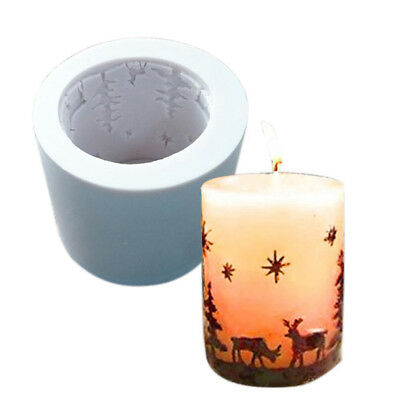 Cylinder Elf Pine Tree Silicone Mold Candle Soap Christmas Decor Gift DIY Tool