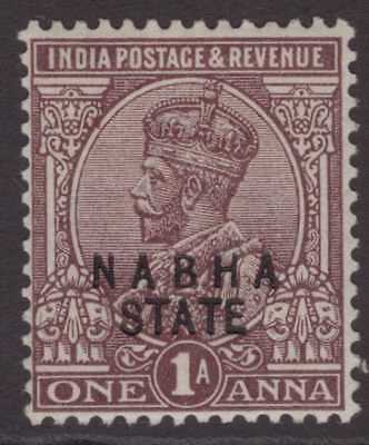 India Conv Nabha GEOV 1924 SG59 1a Chocolate LMM CV£15