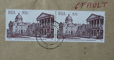 1982 South Africa 30cent stamp pair on piece used with variety 'shaved value'