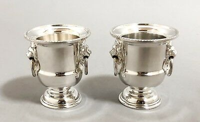 Viners Sheffield silver plate pair 2 small vase pedestal urns lion paw handles