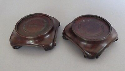 Pair Antique Chinese carved Zitan wood stands - for bowls or vases of 6.4cm base