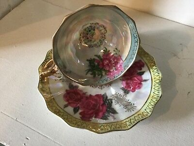 Vintage Fan Crest Tea Cup and Saucer Fine China Japan Signed  Roses Lusterware