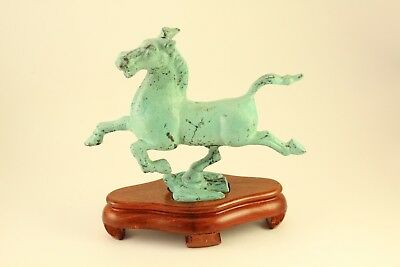 Galloping Horse Of Kansu Art Metal Chinese Antique Repro Sculpture with Stand