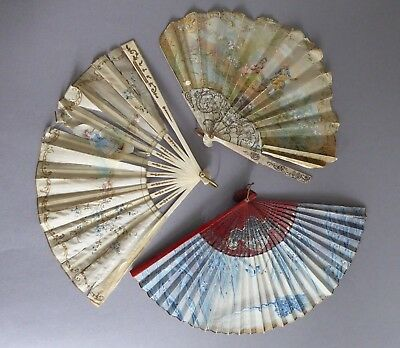 3 Antique fans, mother of pearl hand painted silk, bone & lace, lacquer