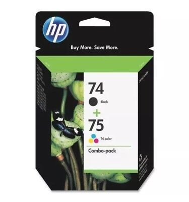 HP INK COMBO-PACK 74 BLACK/ 75 TRI-COLOR INK CARTRIDGES Warranty:10/2018+ Sealed