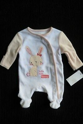 Baby clothes GIRL premature/tiny<7.5lbs/3.4kg pink/white rabbit velour babygrow