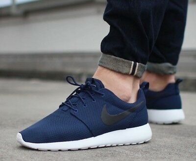 big sale 64af3 8122f New NIKE Roshe Run One Casual Athletic Shoes Mens blue black all sizes