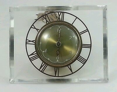 VINTAGE 1950s MODERN/Clear Lucite Mantle Table Clock Electric~Stamped Salem Co.