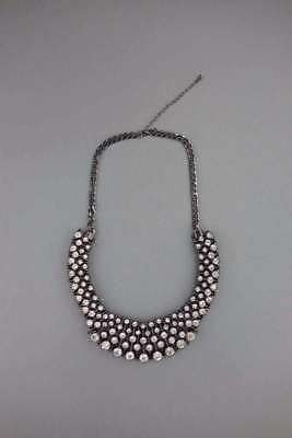 Womens Classic Chromed Black Necklace With Clear Diamond Look