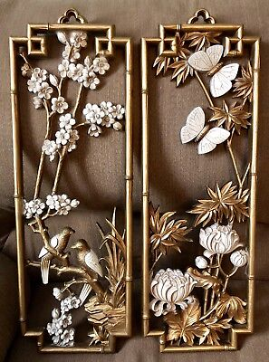 *pair!* Vintage Homco Wall Plaques #7365 Gold White Birds Butterflies Flowers 💐