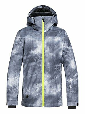 Quiksilver Mission Snow Jacket - Boys - 12 Large, Grey Simple Texture (KPG2 8a4b5b5f3c