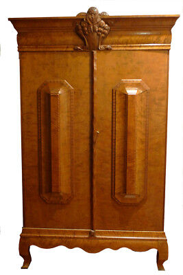 Unique Antique Swedish Biedermeier Birch Armoire Custom Media Center