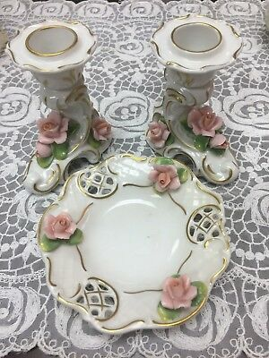 Alka Kunst German Dresden Candle Holders and Dish