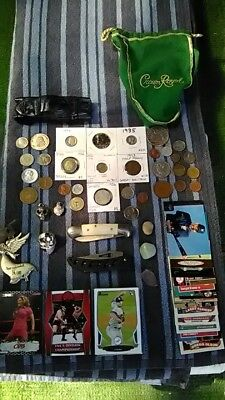 Junk Drawer Lot Coins, Foreign Coins, Tokens, Knives, Cards