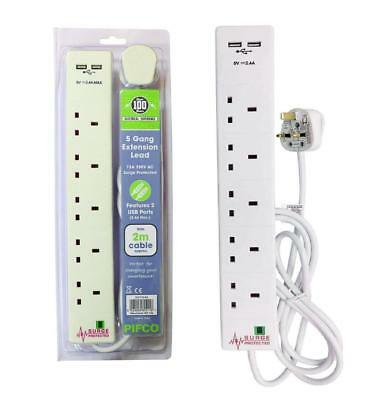 5 Way Gang Extension Lead Socket with 2x USB Charge Port Surge Protected 2M Lead