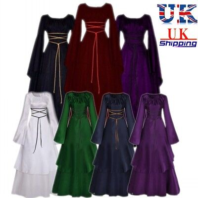 UK Womens Renaissance Dress Flare Sleeve Medieval Halloween Gothic Costume Gown