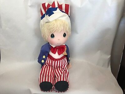 """Precious Moments Soft body Doll - Uncle Sam - USA Flag Clothes Bow Tie Hat 15""""T"""