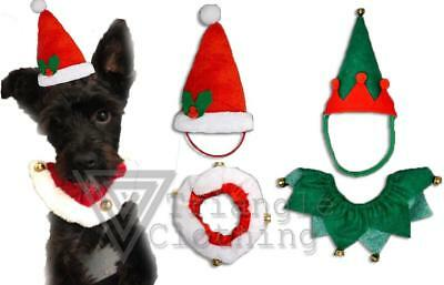 Christmas Dog Costumes Jingle Bells Santas Helper Elf Collar Trim Hat Cat Pet