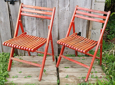 Pair Red Vintage Wooden Folding Slat Dock Boathouse Chairs