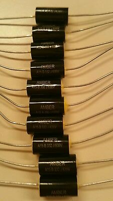 NEW 10 x BLACK 0.1uF / 630 VOLT POLYESTER AXIAL CAPACITOR * NEW STOCK