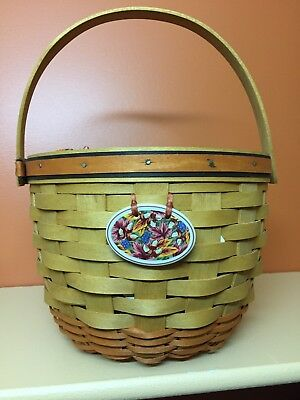 Longaberger Halloween basket with handle, liner, protector, tie on