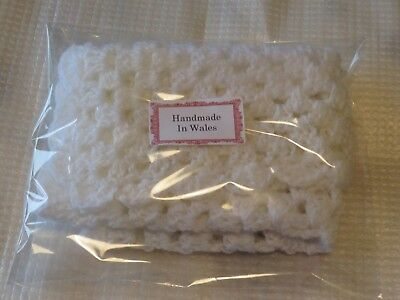 hand made in wales white crocheted  dolls blanket 15 inches by 15 inches