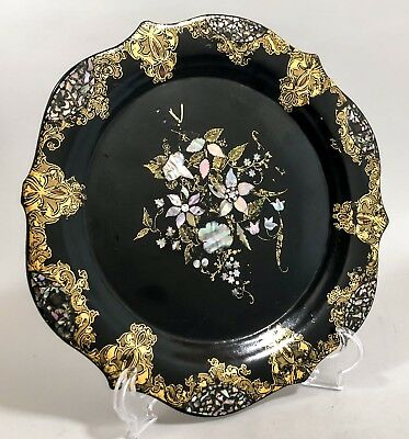 Victorian gilt black lacquer papier-mache mother-of-pearl-inlaid wall plate dish