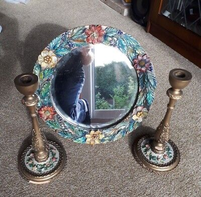 Original Barbola Mirror and 2x Candle Stick Holders. Candlestick.