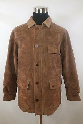 C7548 VTG Men's BARBOUR MOLESKIN Snap-Button Suede Leather Shirt Jacket Size M