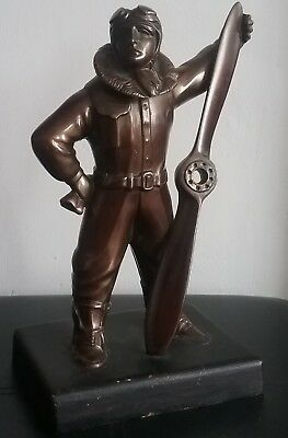 Period WWII 1930's Bronzed Spelter RAF? Fighter Pilot With Hidden Lighter