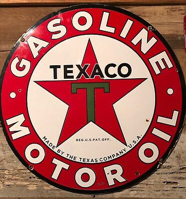 Texaco Porcelain Sign DSP Dated 1931