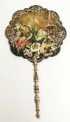 Victorian lacquer papier-mache gilt oil painted fan face screen parrot flowers