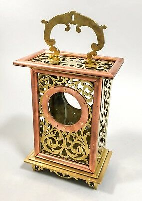 Antique Victorian tall brass carriage clock case copper pierced ornate mantel