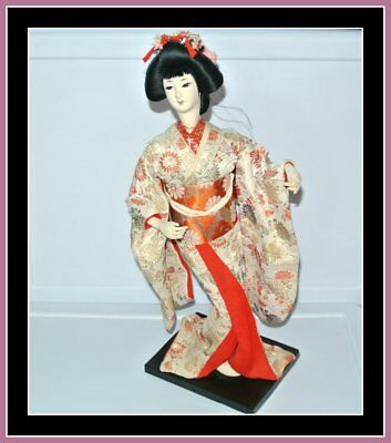 "Vintage Geisha Doll Japan Kimono 18"" Made in Japan"