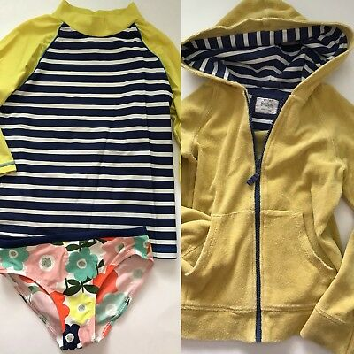 Mini Boden Swim Suit Rash Guard Beach Pool Terry Top Floral Green Girls 7 8 9 10