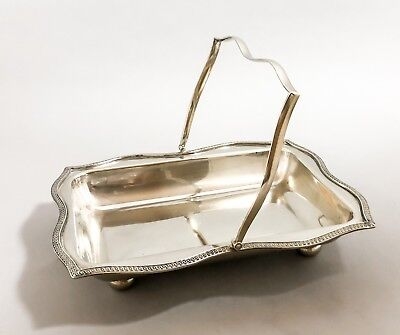 Antique silver plate oblong fluted swing handle fruit bowl bun feet shabby chic