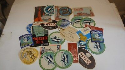 Lot of VIntage-Antique Luggage Labels Sweden-Norway-Rome & More!