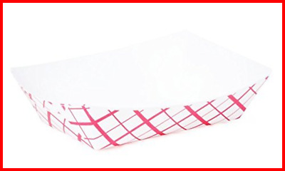 Large 2 Lb. RED Plaid Paper Food Tray 25 Ct PARTY Kitchen