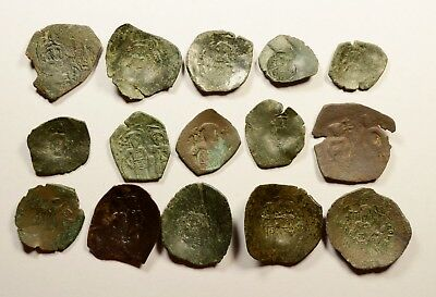 Lot Of 15 Ancient Byzantine Cup Coins - 023