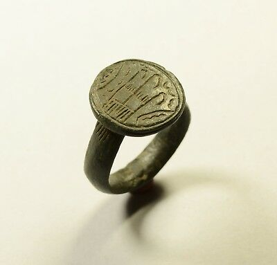 Huge Viking Era Bronze Finger Ring With Runic Symbols - Wearable