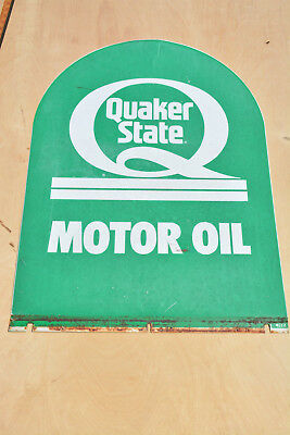 Vintage Quaker State Tombstone Sign Gas Oil Advertising Signage Painted Steel