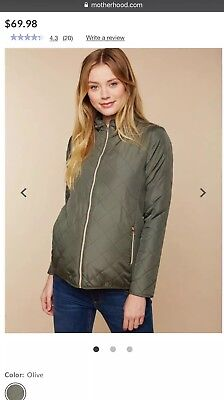 Motherhood Maternity Small S Quilted Puffer Jacket Coat Olive Green