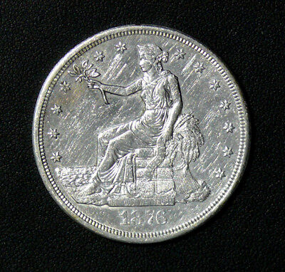 1876-S Silver Trade Dollar - UNC Cleaned Condition Coin