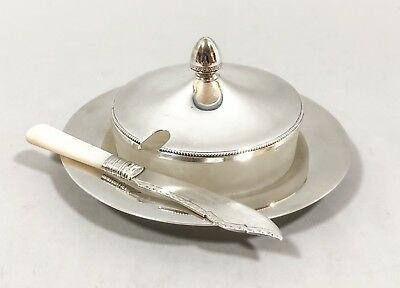 Antique silver plate round butter dish mother-of-pearl frost glass Hukin & Heath