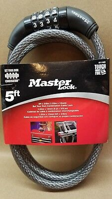MASTER LOCK 3//8 IN 6FT LOOP END BRAIDED STEEL CABLE DIA 78DPF *NEW* *PZB*