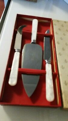 Antique / vintage . Set of 3 Stainless steel cheese knife set. Original box.