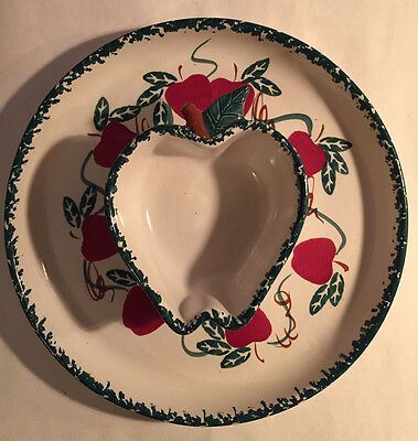 """Apples - Chip & Dip Stoneware - 11"""" - Chaparral Pottery USA"""